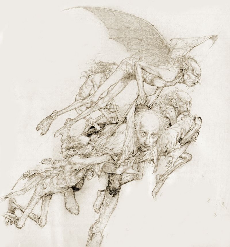 The Unseelie Host snatching up mortals  a drawing by Alan Lee (from ''Faeries'')